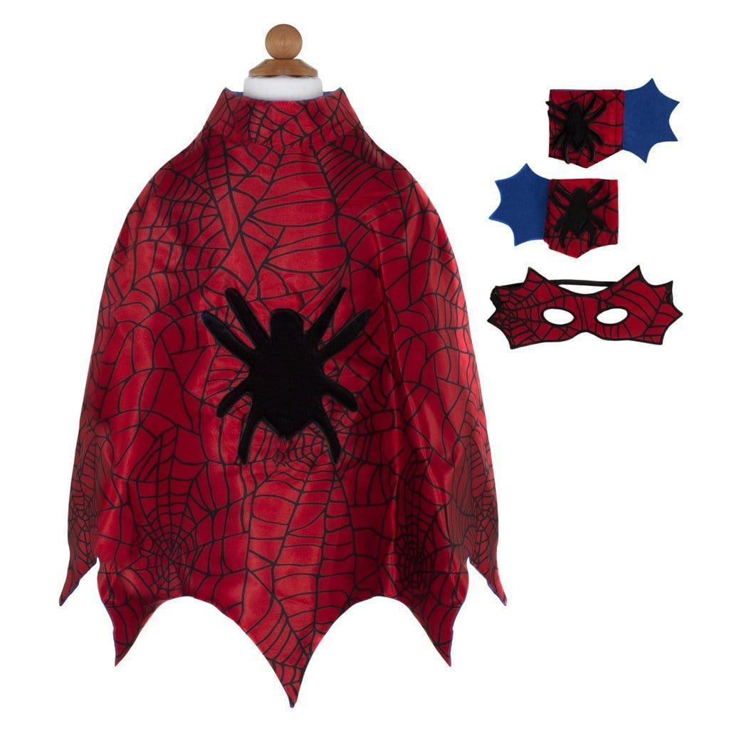 Great Pretenders Spider Cape with Masks & Wristbands (Size 3/4)