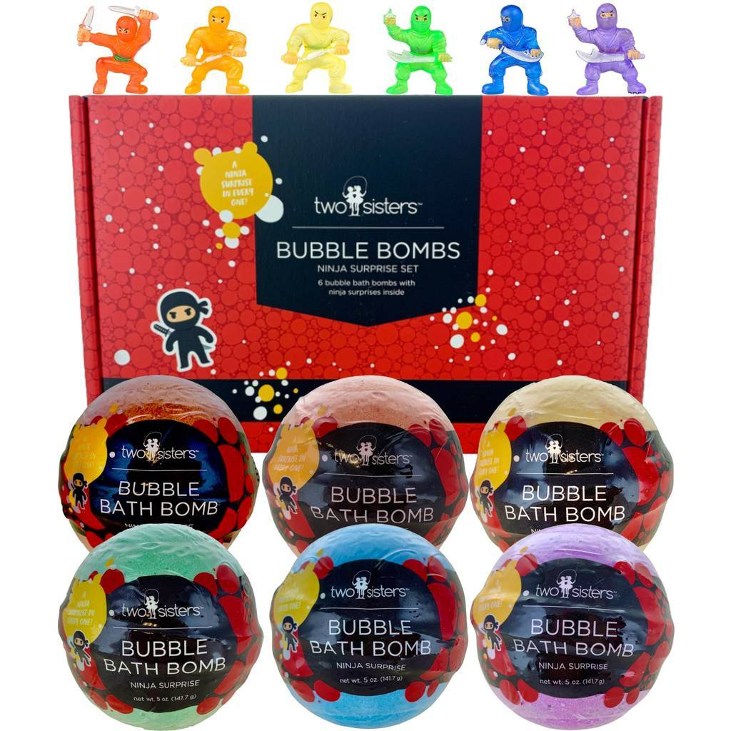 Two Sisters 6-Pack Ninja Surprise Bubble Bath Bomb Set
