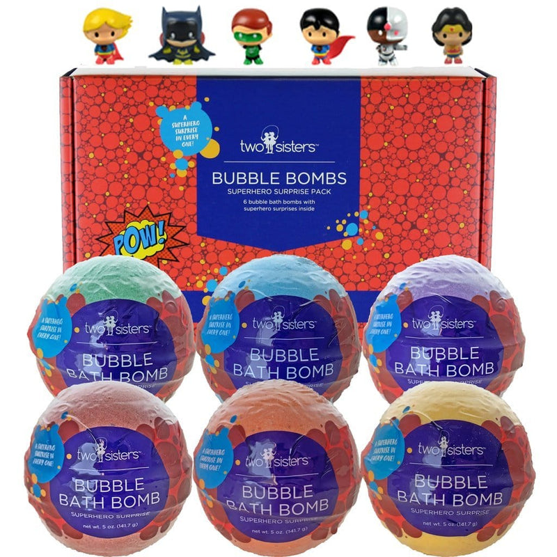 Two Sisters 6-Pack Superhero Surprise Bubble Bath Bomb Set