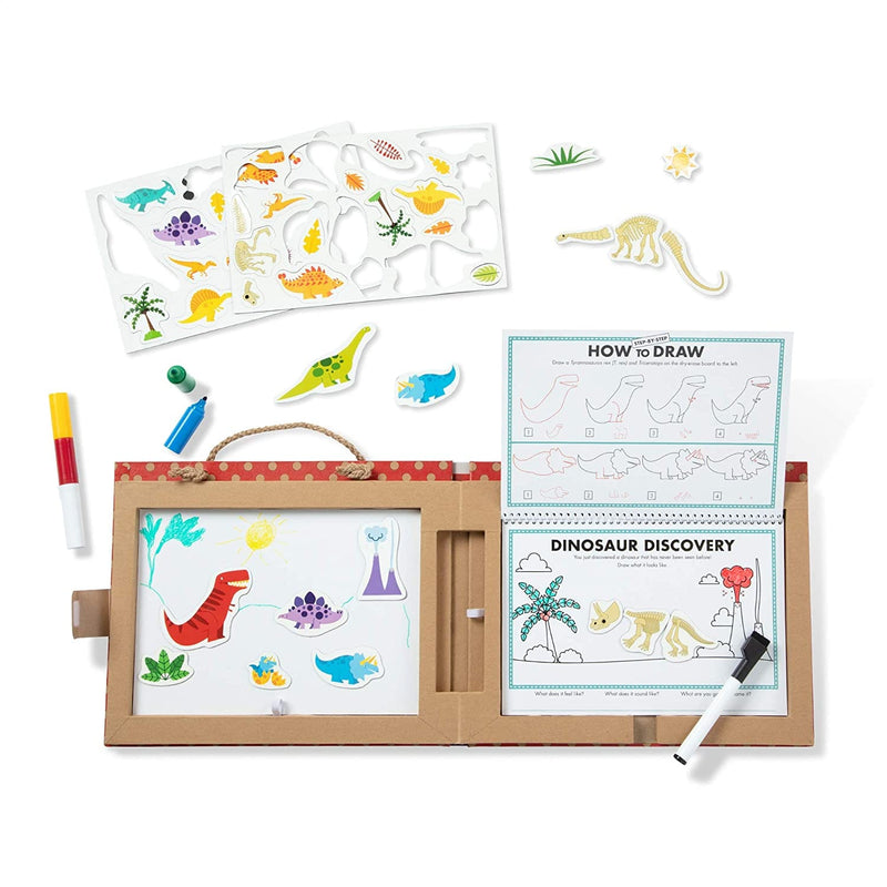 Melissa & Doug Natural Play: Play, Draw, Create Reusable Drawing & Magnet Kit (Dinosaurs)