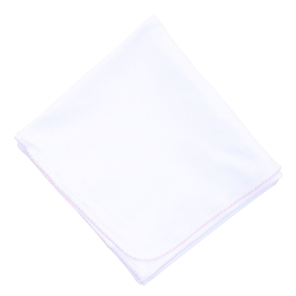 Magnolia Baby Essentials Blanket- White with Pink