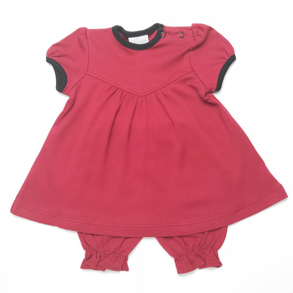 Squiggles Maroon and Black Pima Dress with Bloomer
