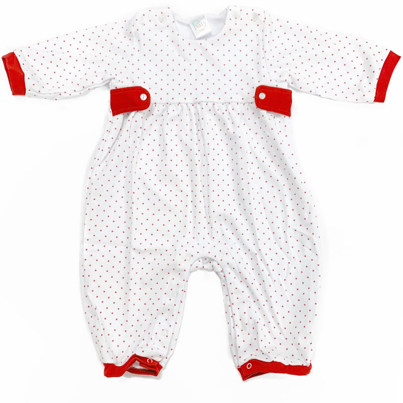 Paty Red Mini Dot Romper with Tabs