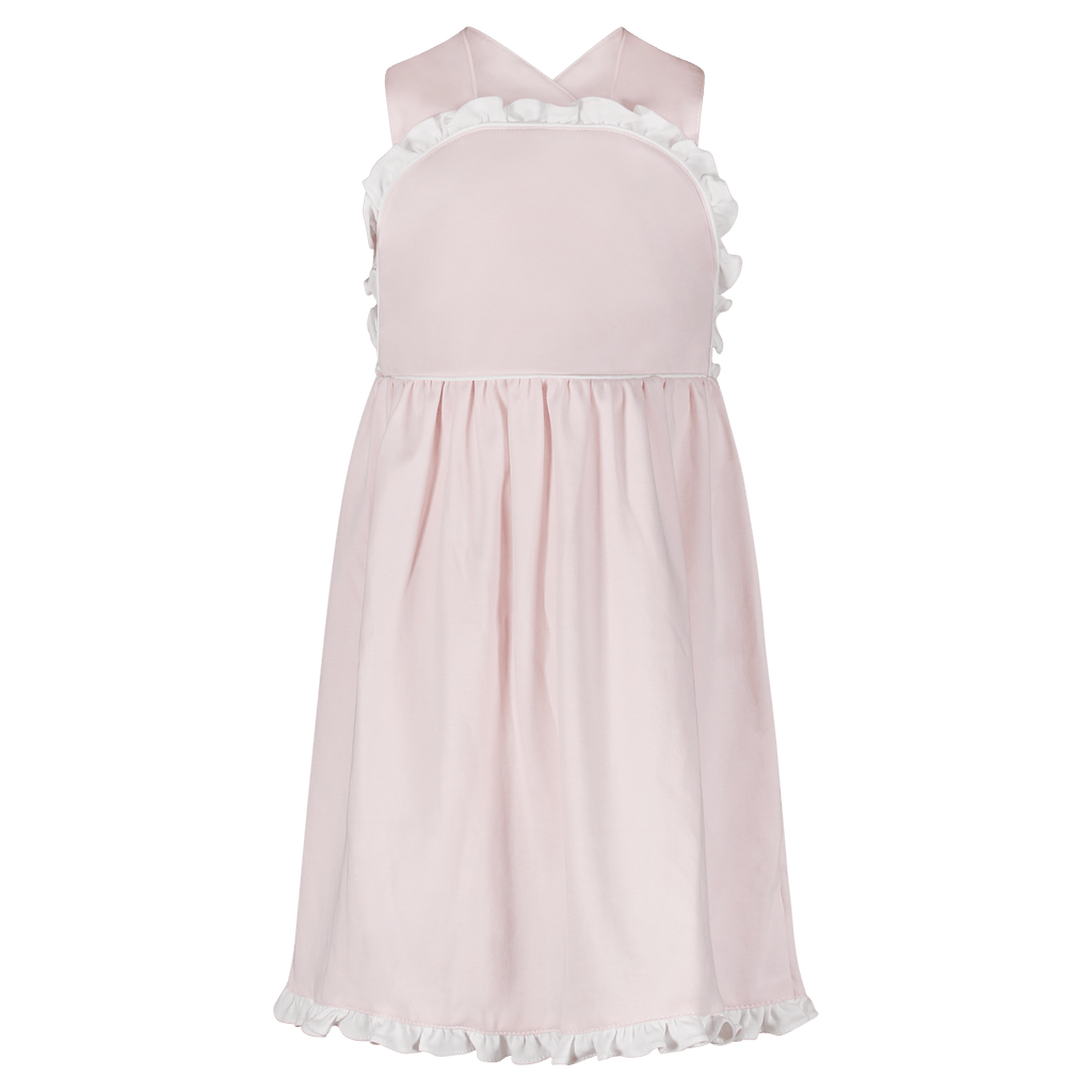 Lila+Hayes Eden Dress- Light Pink with White Piping