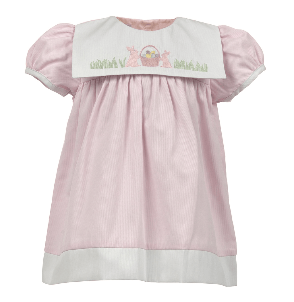 Carriage Boutique Easter Shadow Bib Dress - Pink Bunnies with Basket