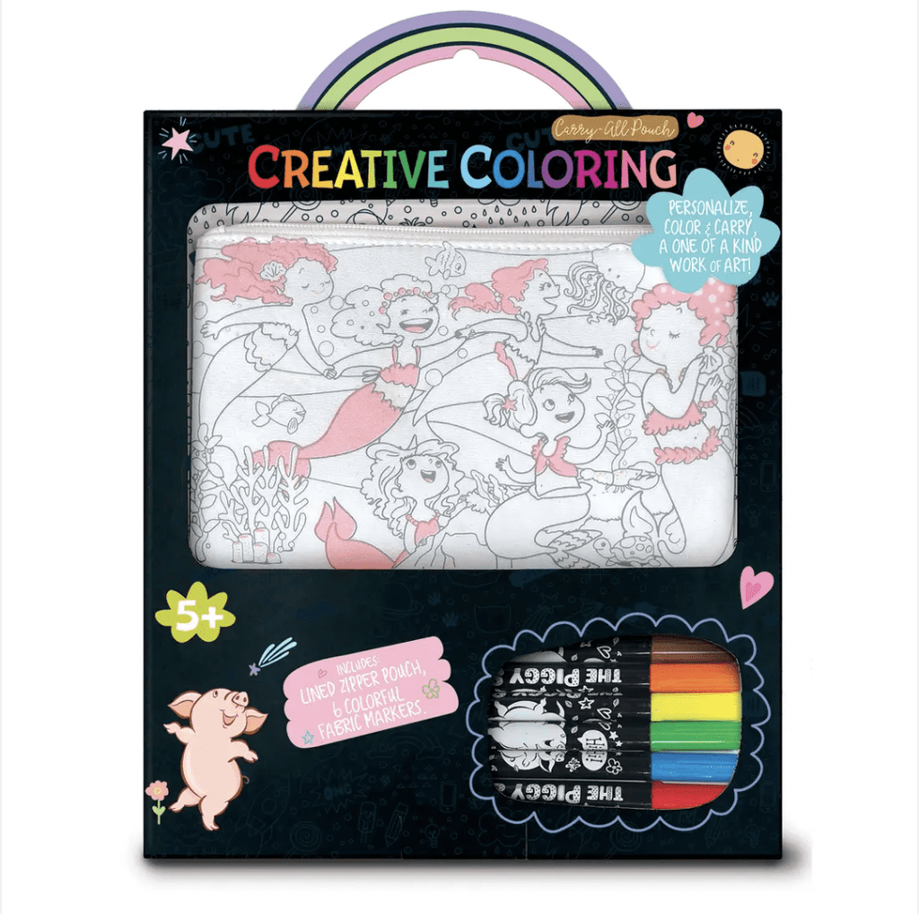 creative coloring carry all pouch- unicorn fantasy