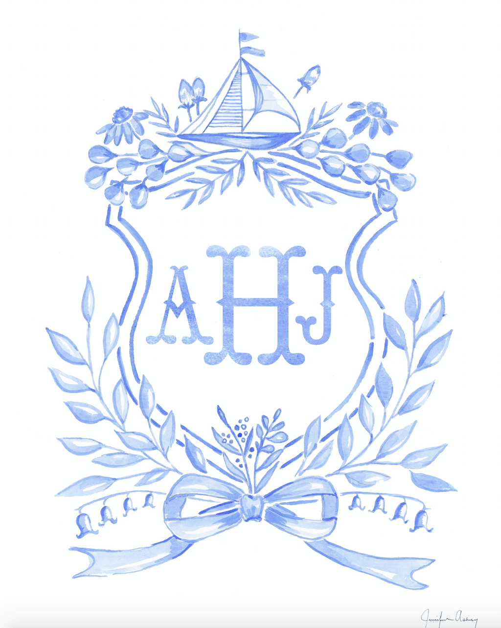 Custom Watercolor Crest - Blue