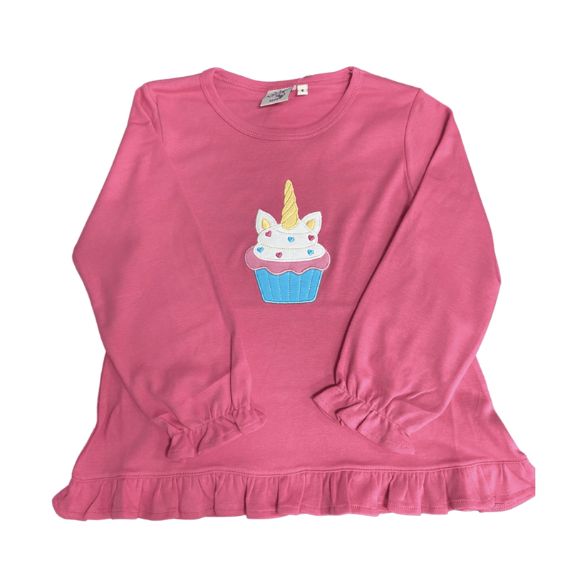 Luigi Kids Ruffle Hot Pink Swing Top - Unicorn Cupcake
