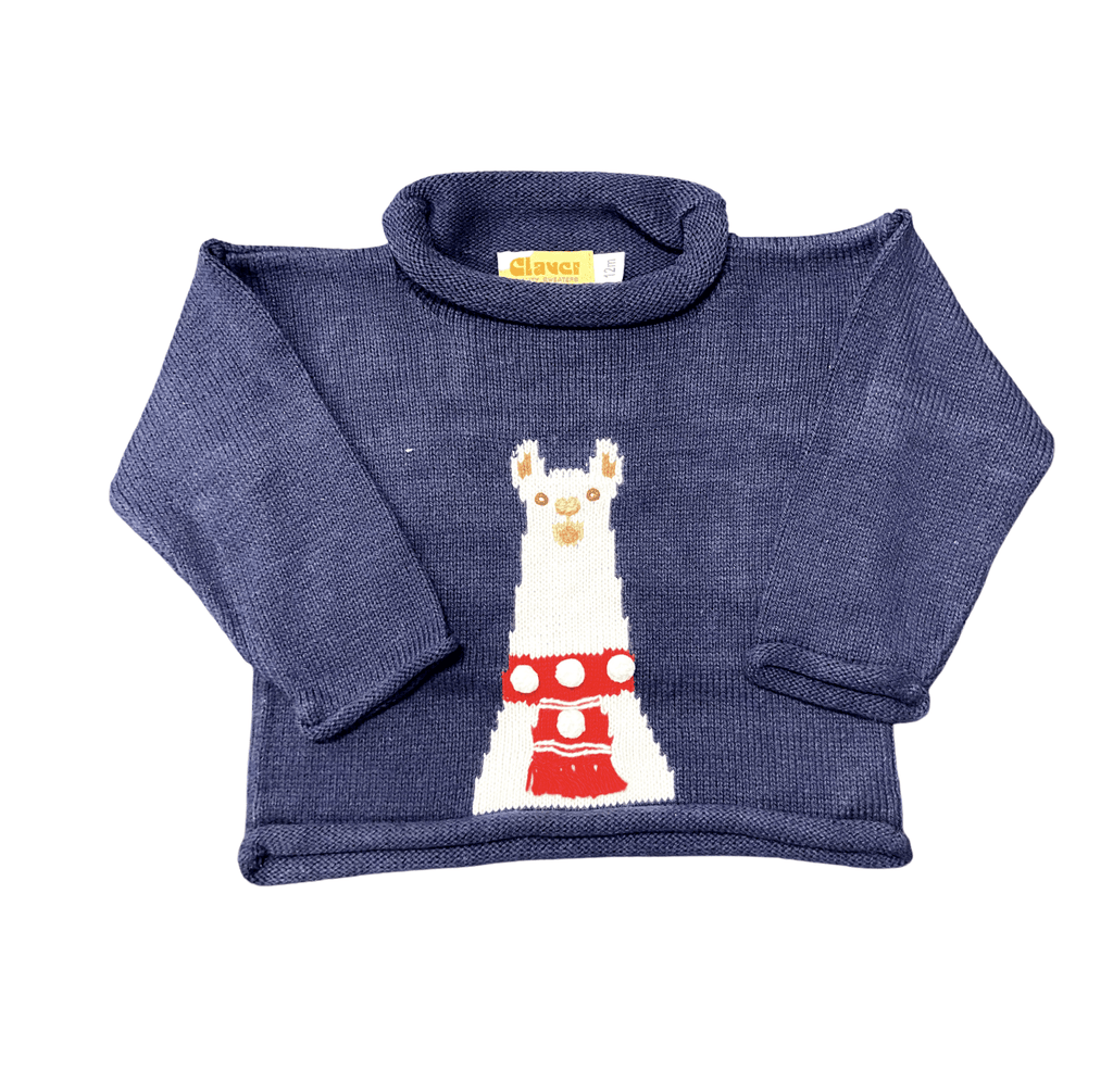 Luigi Kids Twilight Knitted Sweater - Llama with Pom Poms