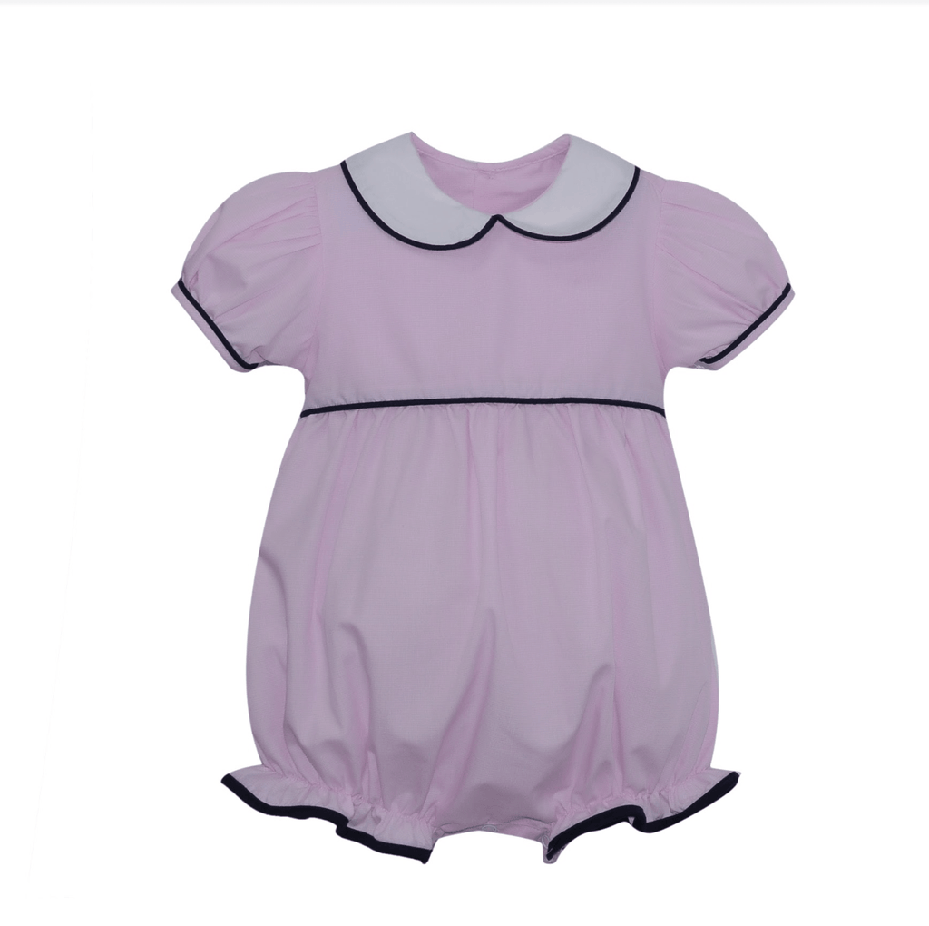 Lullaby Set Charleston Bubble - Pink Microcheck with Navy Knit