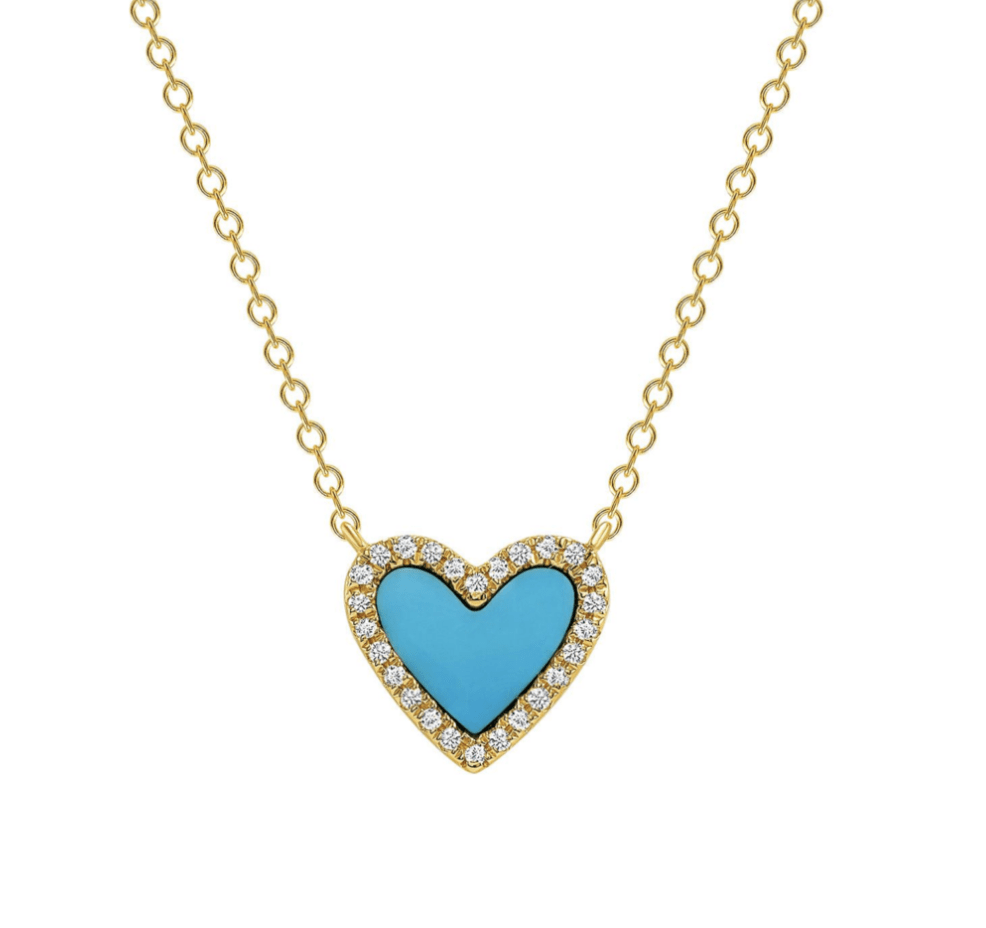leMel Mini Turquoise and Diamond Heart Necklace
