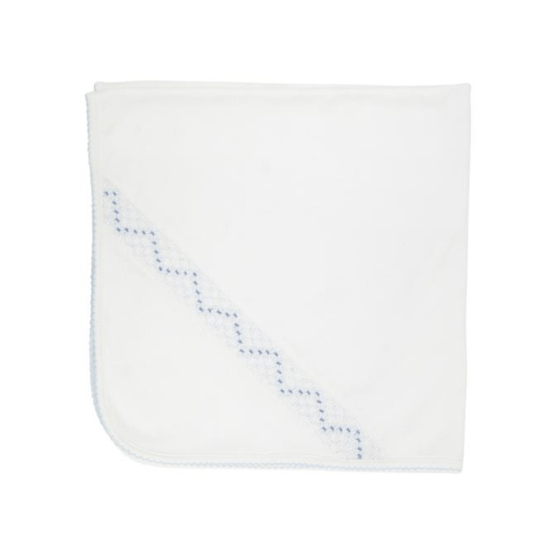 TBBC Sweetly Smocked Blessing Blanket - Worth Avenue White with Buckhead Blue