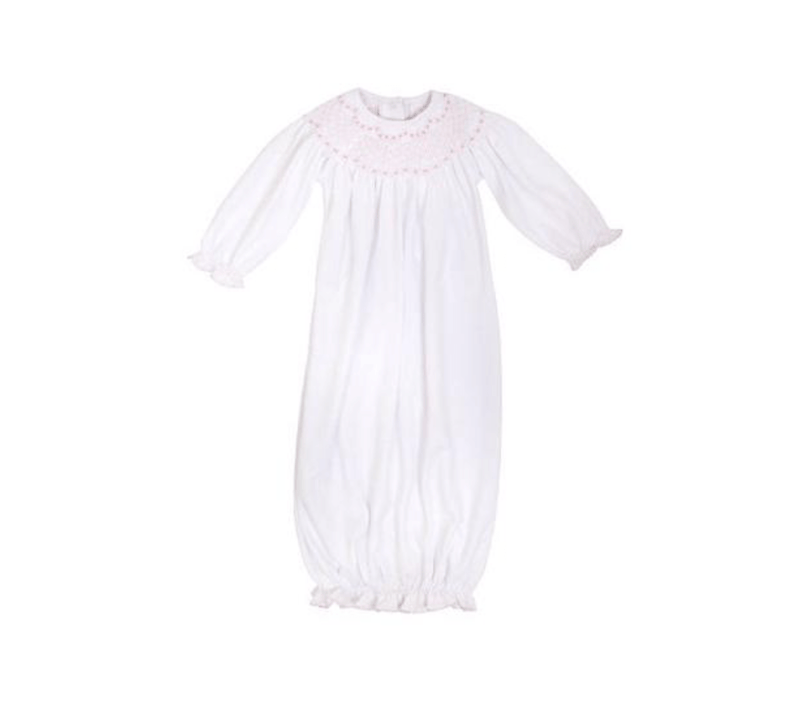 TBBC Sweetly Smocked Greeting Gown - Worth Avenue White with Palm Beach Pink
