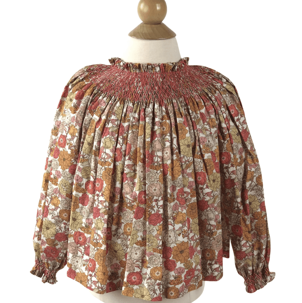 Peggy Green Addison Smocked Blouse - Keenan Floral with Flamingo Smocking