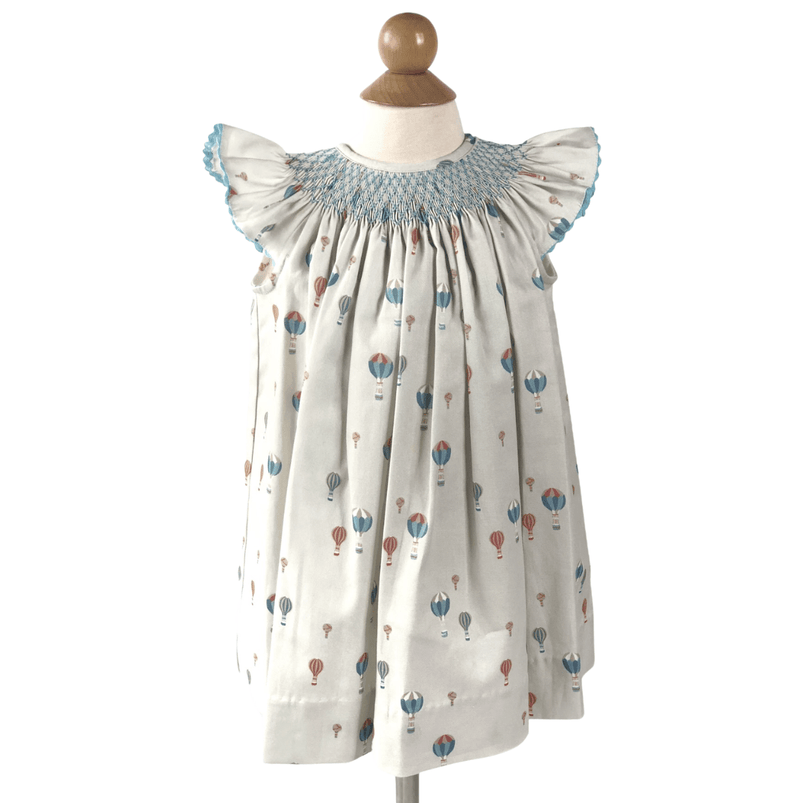 Peggy Green Smocked Millie Dress - Hot Air Balloons with Bright Blue Smocking