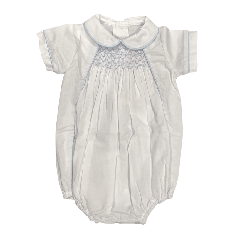 Peggy Green Graham Bubble - White Batiste with Blue Smocking