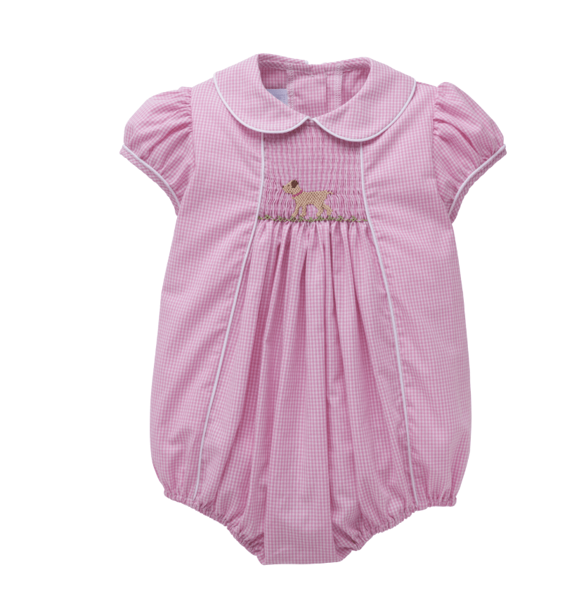 Little English Girl's Lab Chest Smocked Bubble
