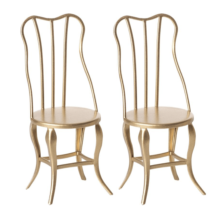 Maileg Vintage Chair, Micro - Gold (2 Pack)