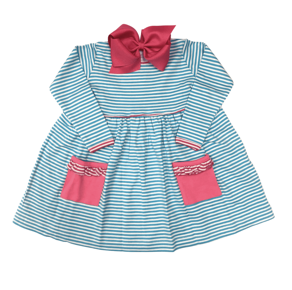 Squiggles Long Sleeve Popover Dress Turquoise Stripe with Hot Pink Ruffle Pockets
