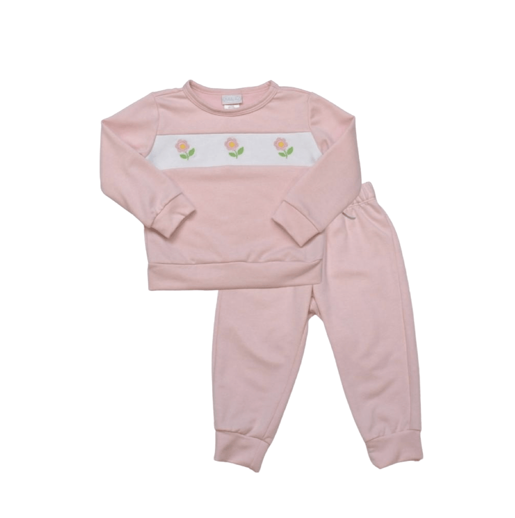 Lullaby Set All Day Play Sweatsuit - Light Pink Knit with Flower Embroidery