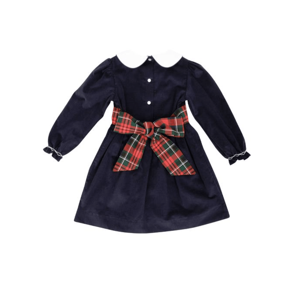 TBBC Fall 2020 Cindy Lou Sash Dress - Jamestown Tartan Nantucket Navy