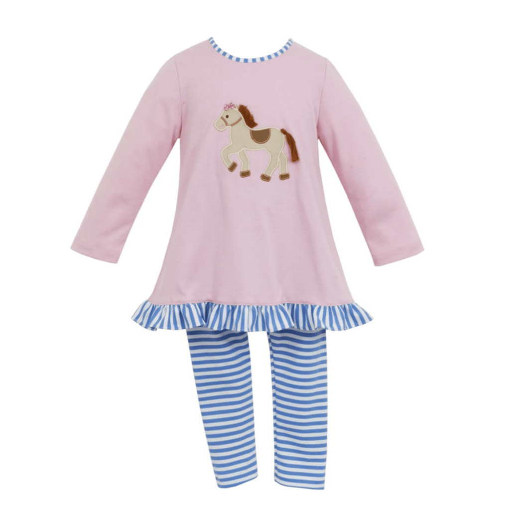Claire & Charlie Light Pink Tunic Horse Blouse with Blue Stripe Leggings