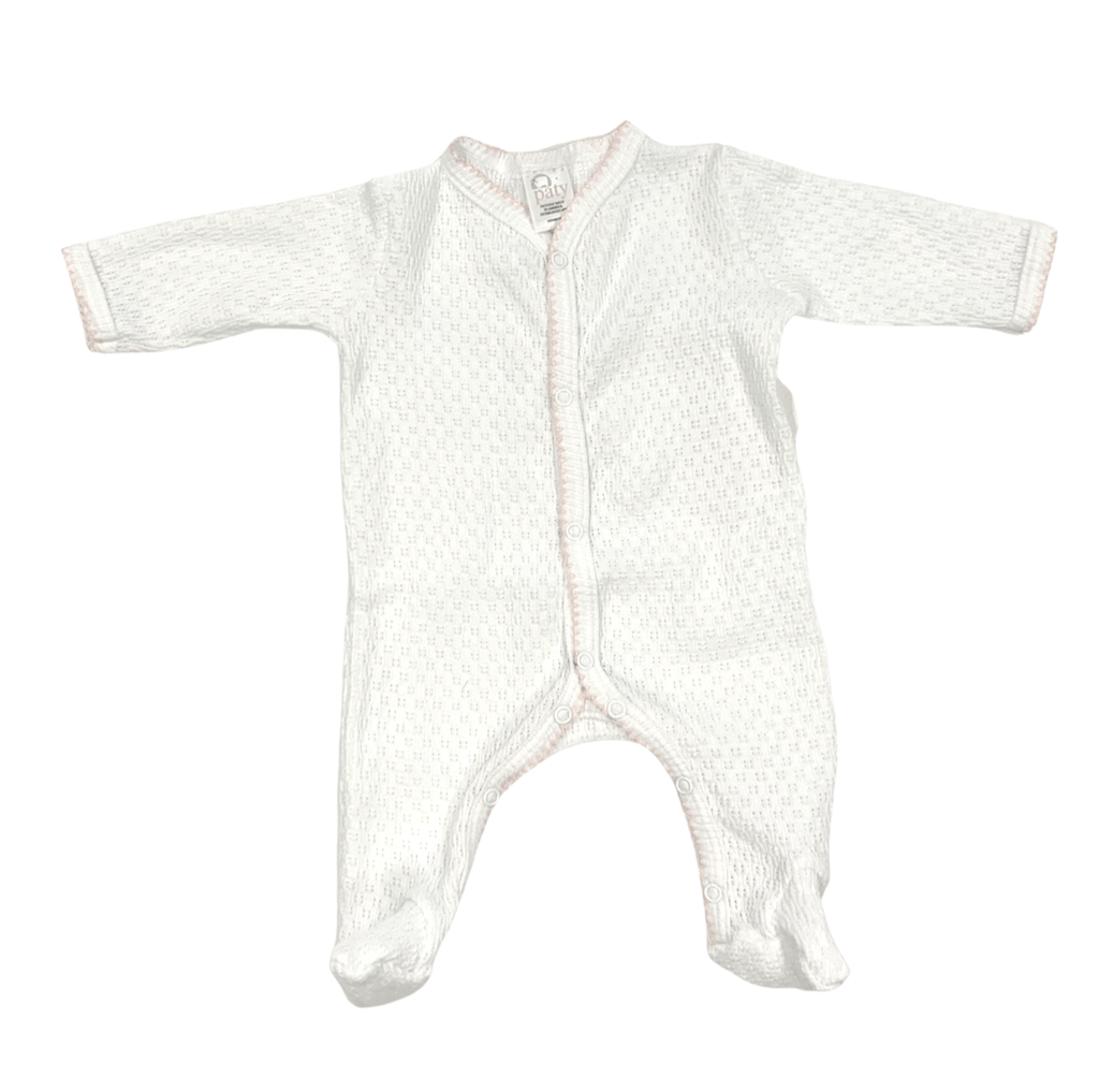Paty Long Sleeve Footie - White with Pink Trim