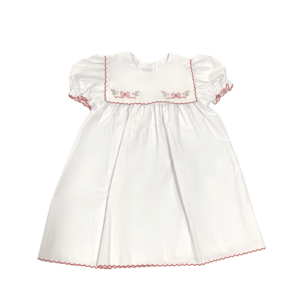 Auraluz White Dress with Red Bow Embroidery