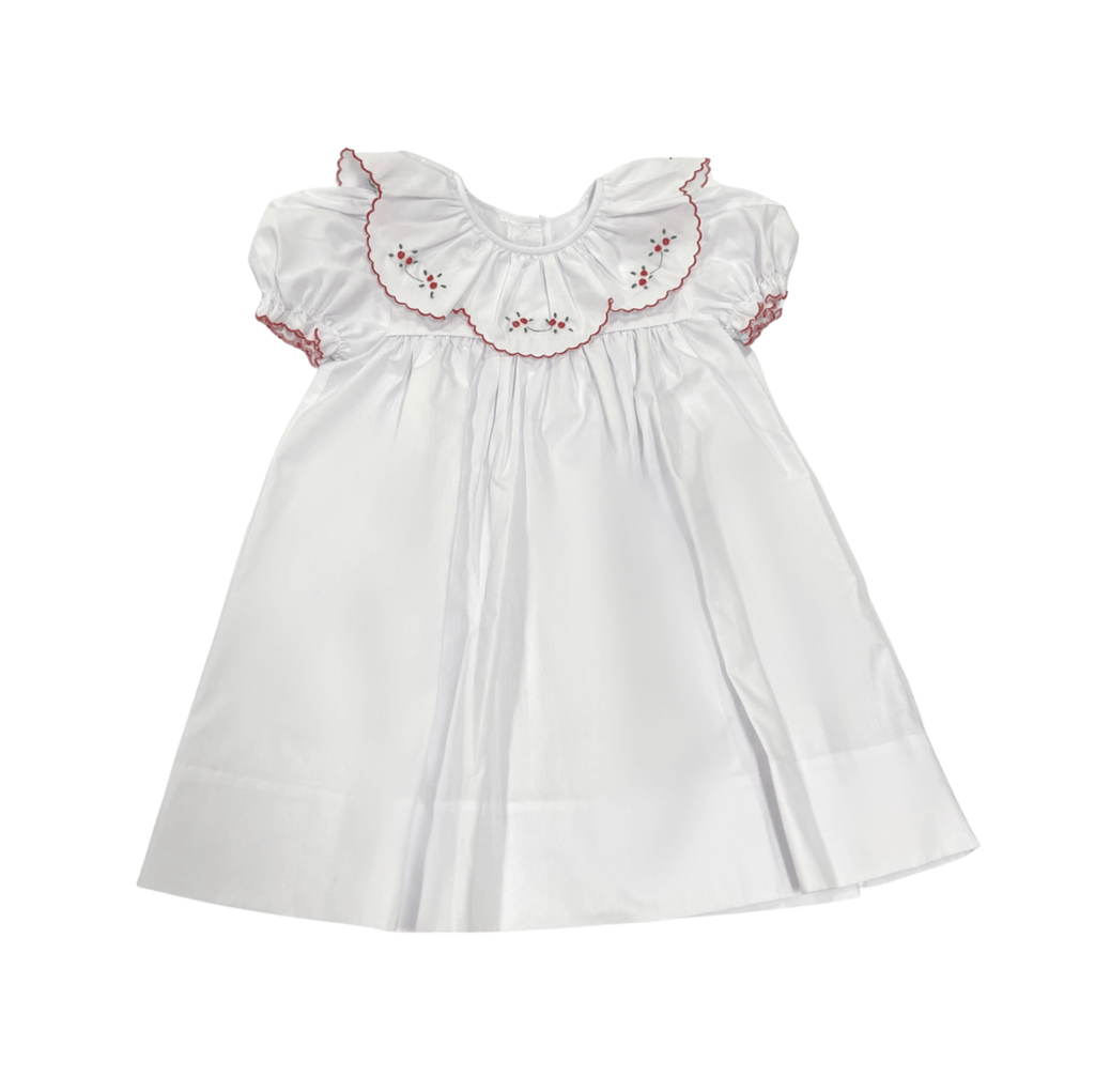 Auraluz White Dress with Red Trim Scalloped Tiny Bud Collar