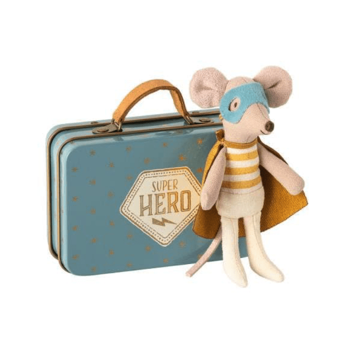 Maileg Superhero Mouse - Little Brother in Suitcase