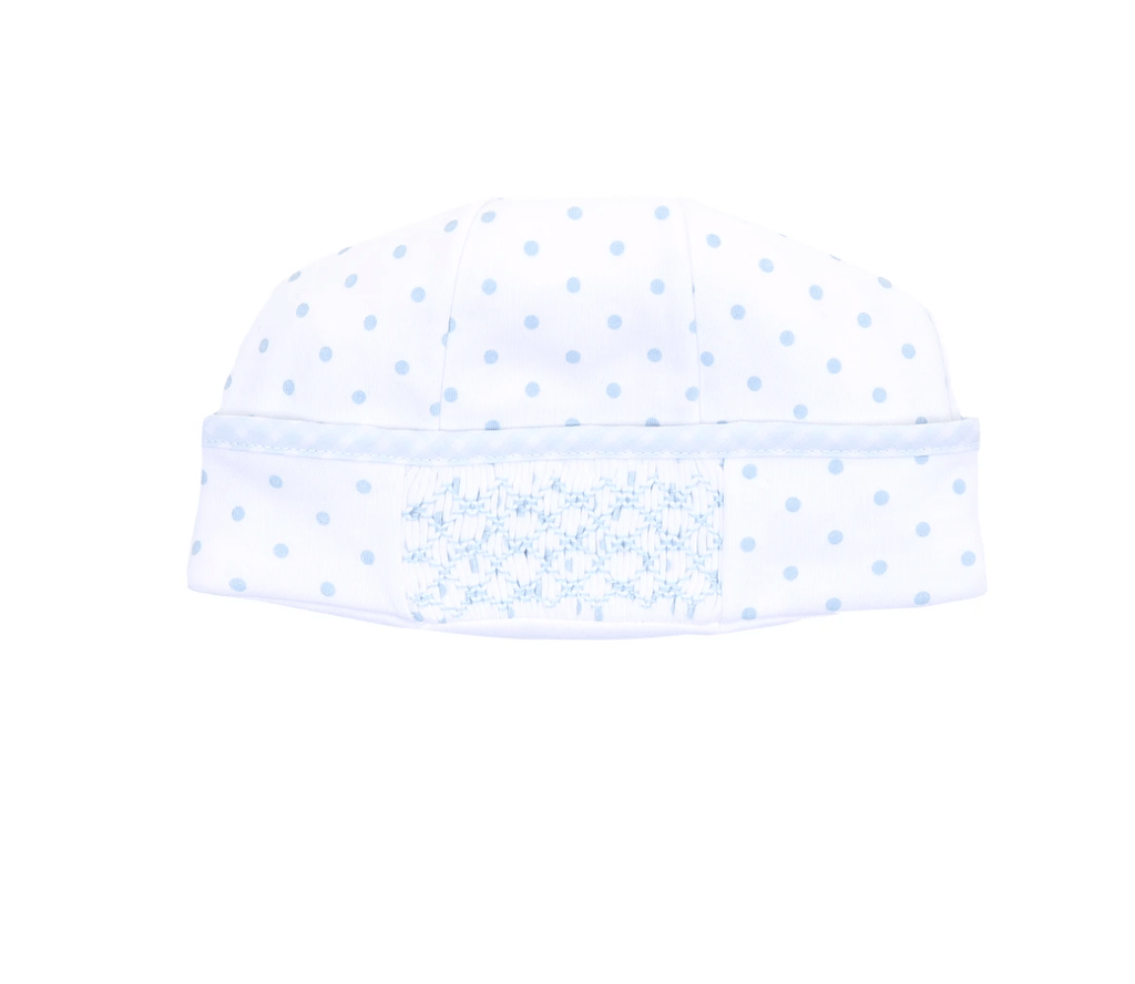 Magnolia Baby Gingham Dots Essentials Smocked Hat- Blue