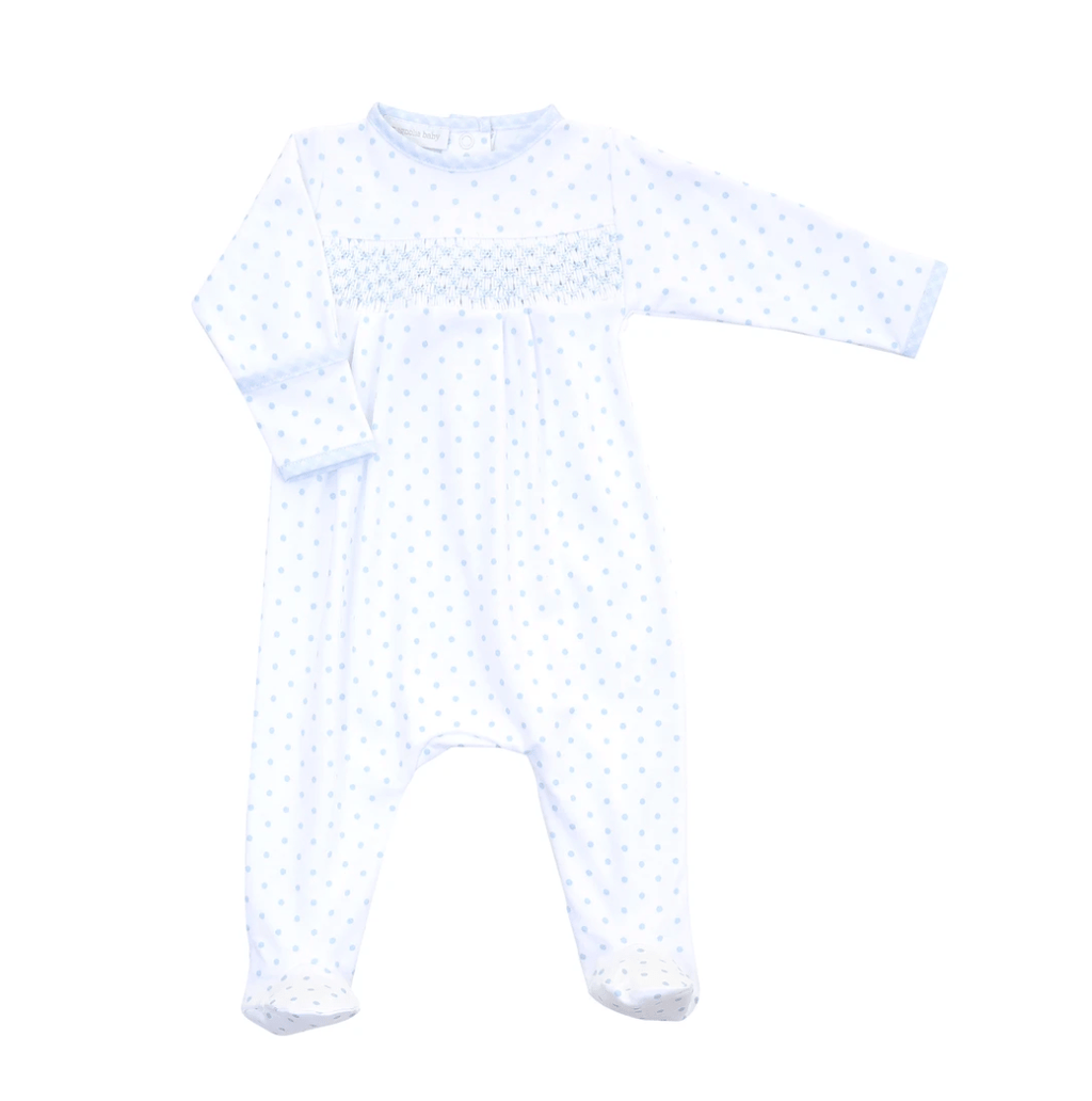 Magnolia Baby Gingham Dots Essentials Smocked Footie- Blue