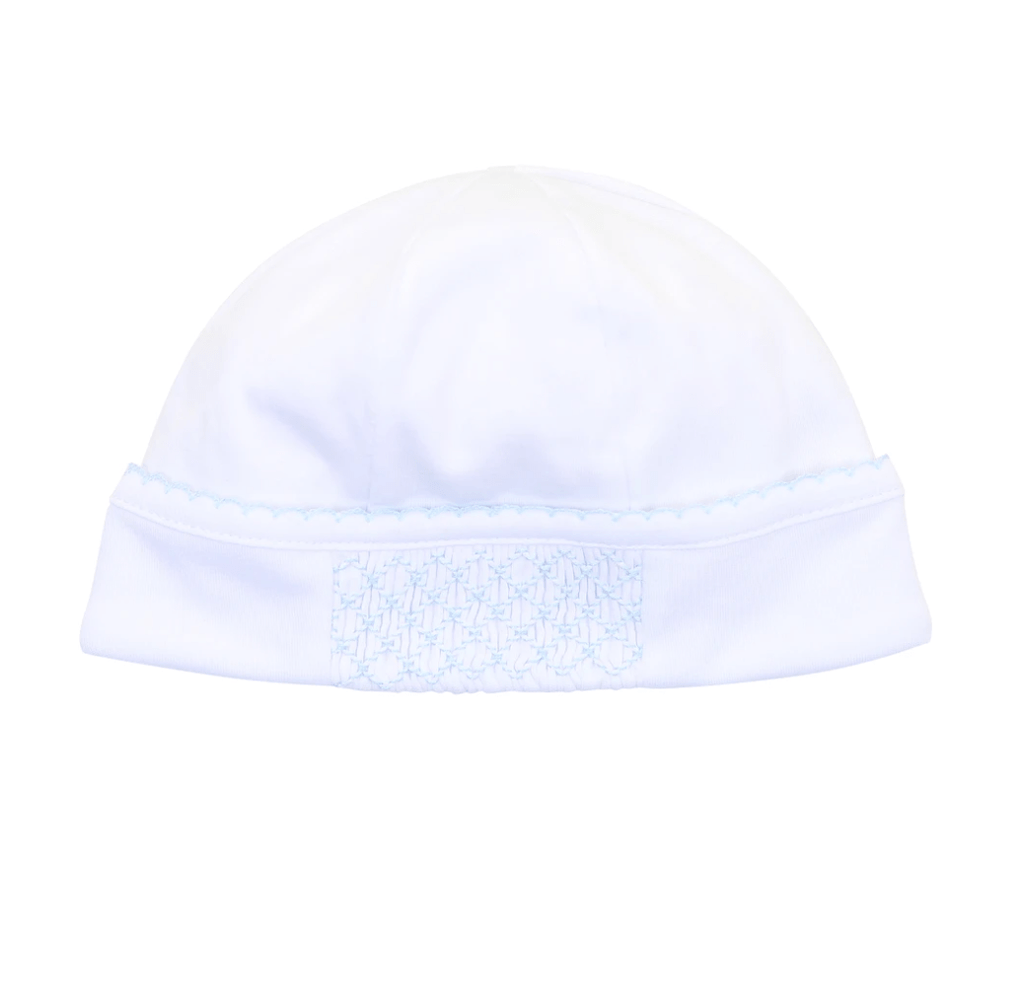 Magnolia Baby Smocked Hat - White with Blue (NB)