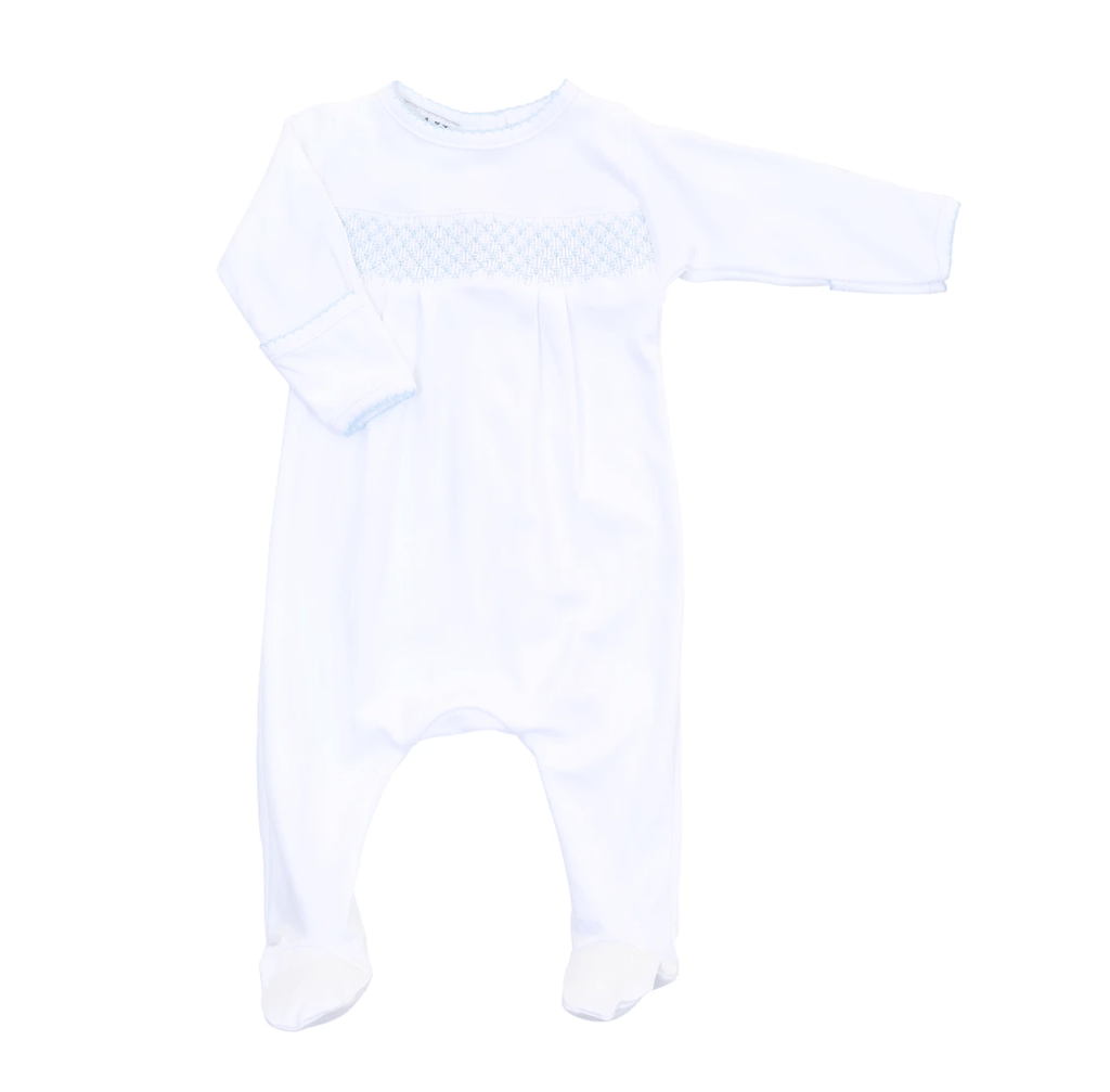 Magnolia Baby Essentials Smocked Footie- White with Blue