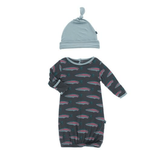 Kickee Pants Print Layette Gown Converter & Single Knot Hat Set - Stone Rainbow Trout