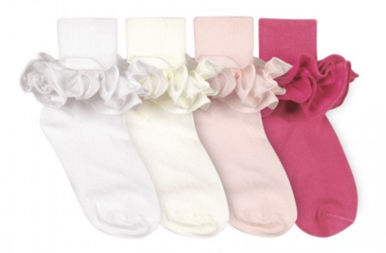 Embroidered Jefferies Misty Ruffle Turn Cuff Socks