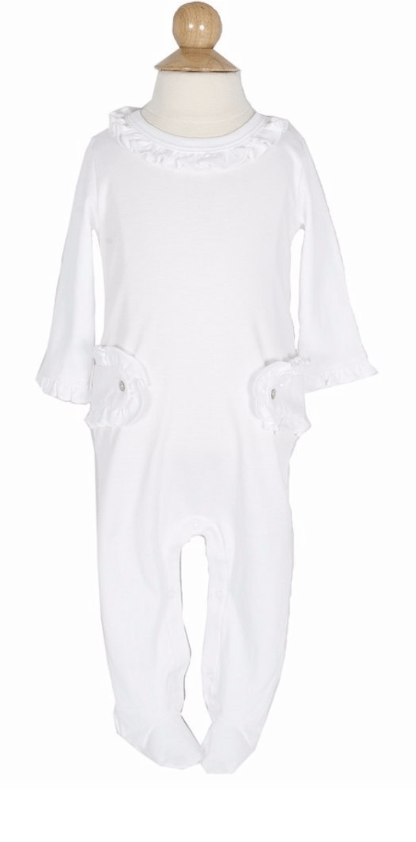 Lila+Hayes White Lucy Footed Romper