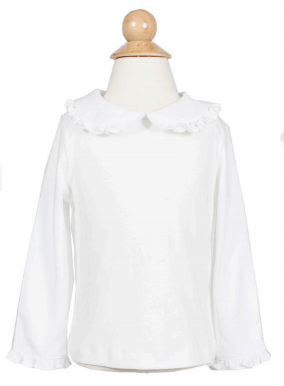 Lila+Hayes White Ruffled Collar Allison Top