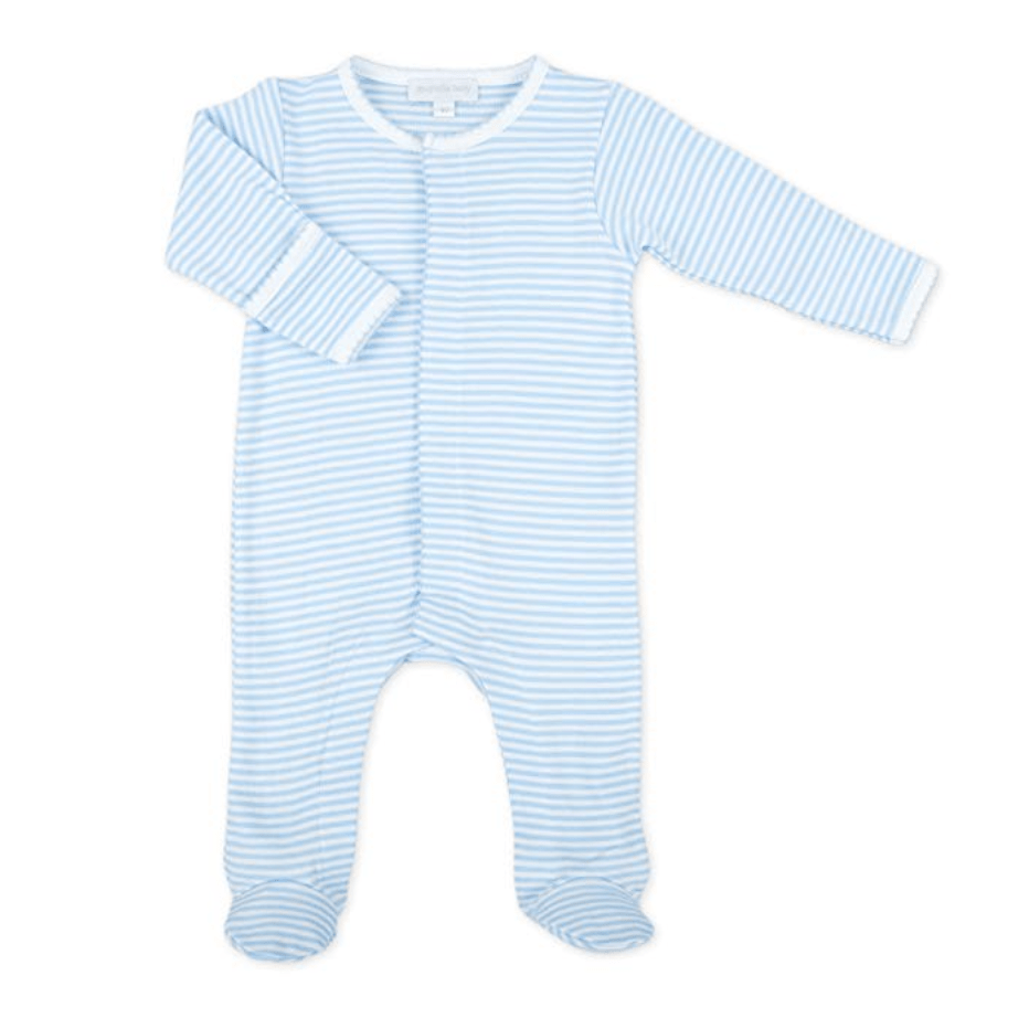 Magnolia Baby Essentials Stripes Footie - Light Blue