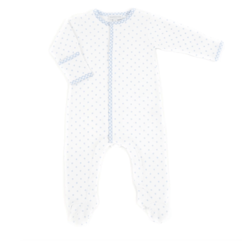 Magnolia Baby Gingham Dots Footie - Light Blue