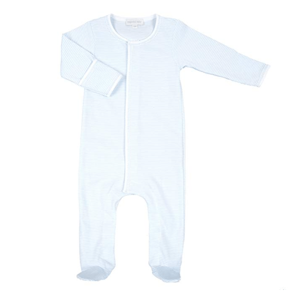 Magnolia Baby Mini Stripe Essentials Footie - Light Blue