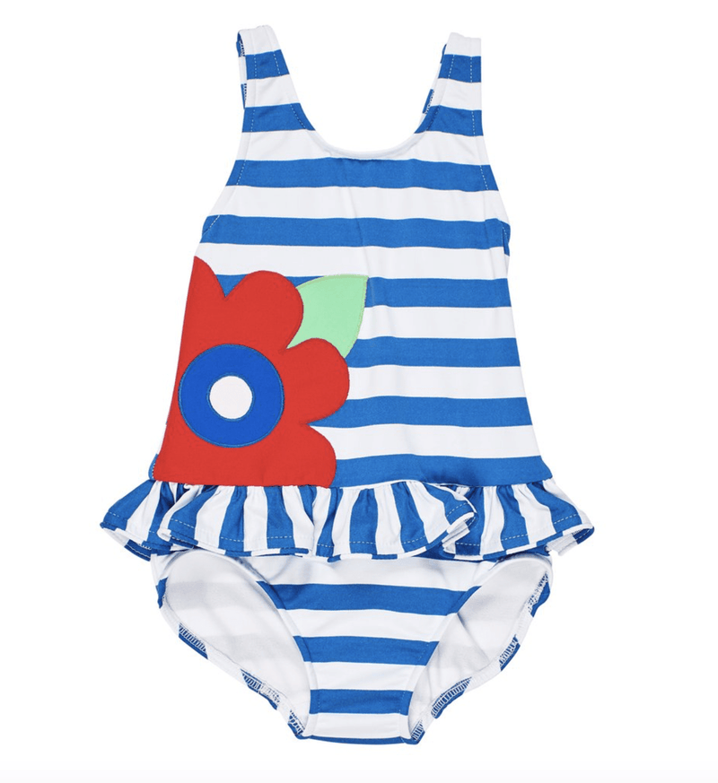 Florence Eiseman Blue Stripe Swimsuit with Large Appliqued Flower