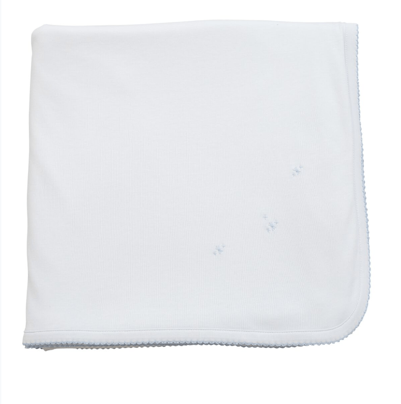 The Proper Peony Pima Baby Blanket White With Blue Trim
