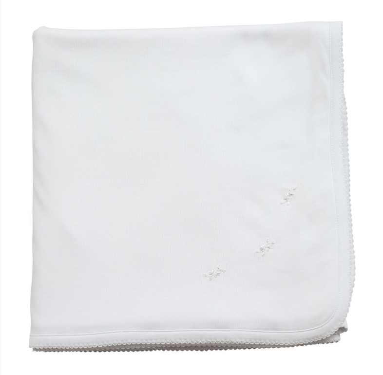 The Proper Peony Pima Baby Blanket White