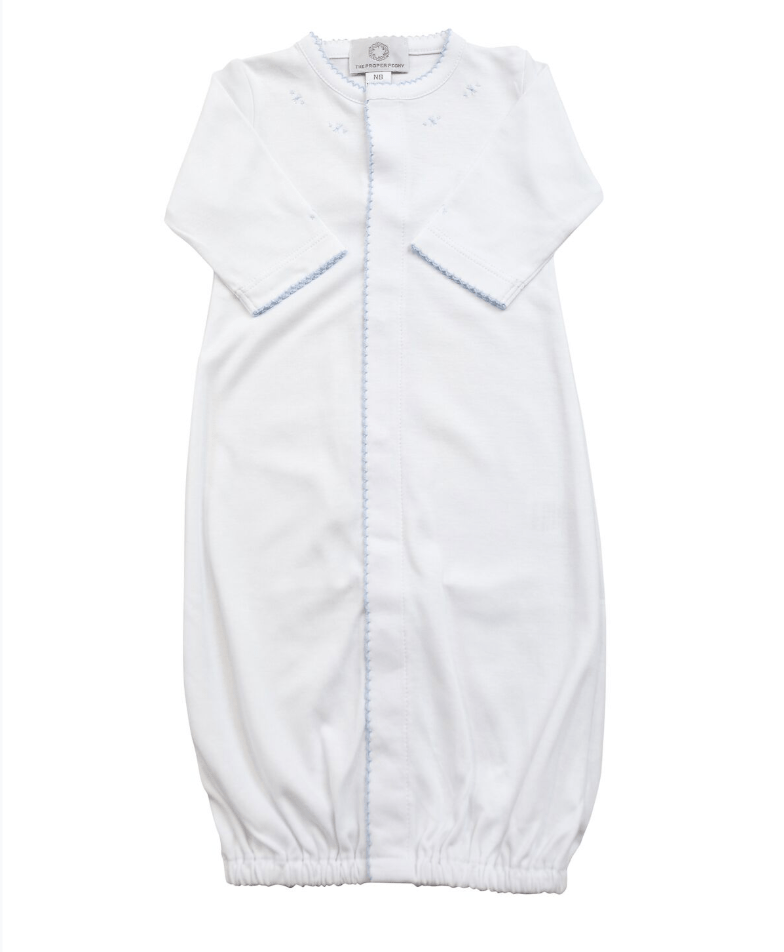 The Proper Peony White With Blue Pima Converter Gown