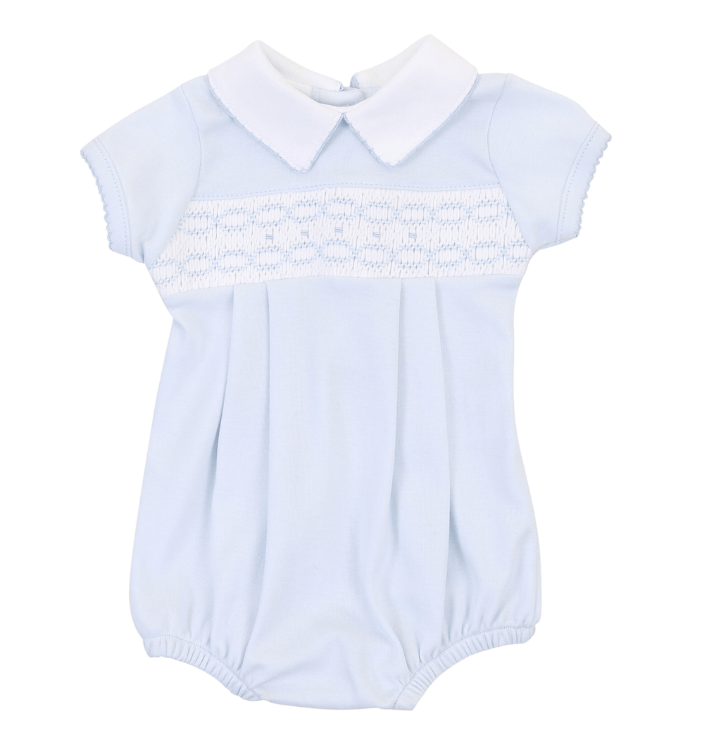 Magnolia Baby Cora and Cole's Classics Smocked Collared Boy Bubble