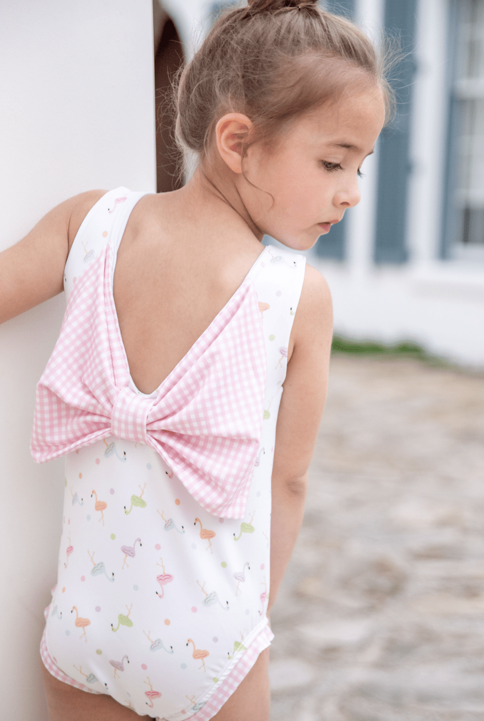 James and Lottie Spring 2020 Bow Back Baby Swim - Flamingo (Delivery 2)