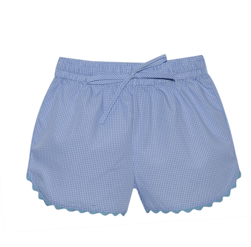 Lullaby Set Bailey Shorts - Blue Gingham with Teal Ric-Rac Trim