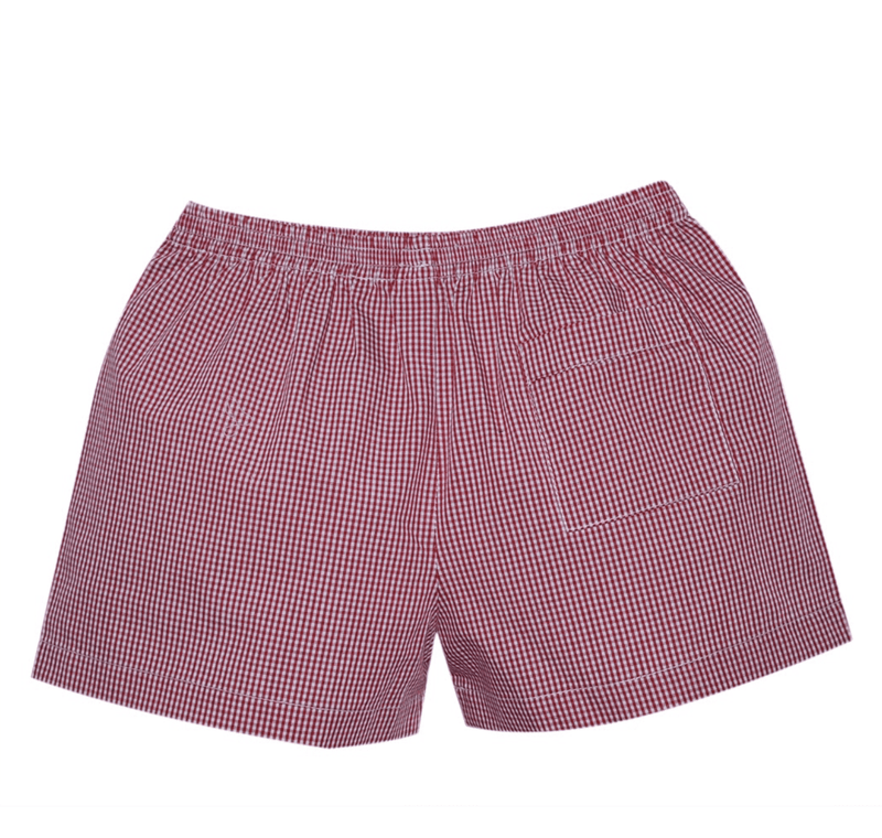 Lullaby Set Stewart Shorts - Red Mini Gingham
