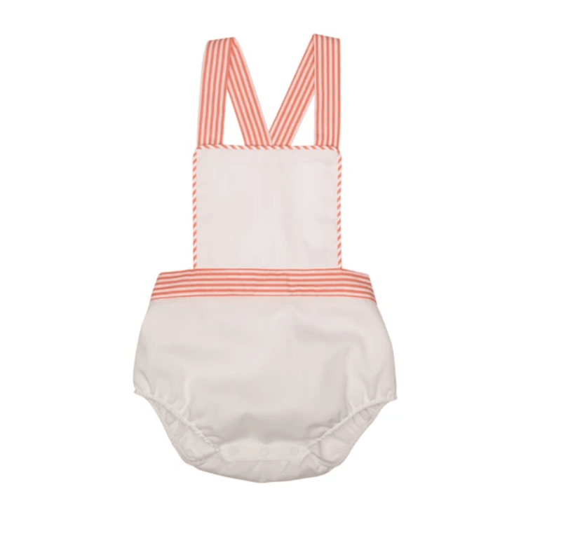 TBBC Sayre Sunsuit - Worth Avenue White with Tega Cay Tangerine Stripe